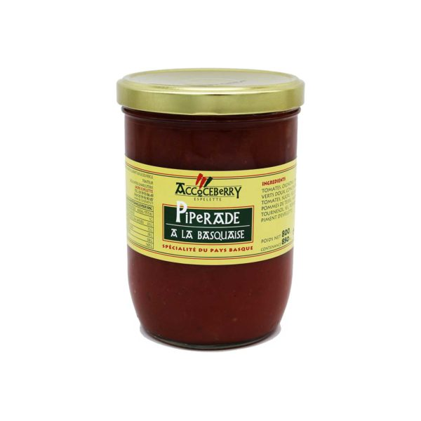Bocal de 800g de piperade à la basquaise de chez Accoceberry